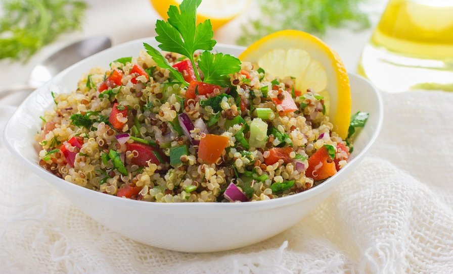 Quinoa Salad is not only an excellent source of protein and veggies, but the quinoa will provide you will all the essential amino acids your body needs!